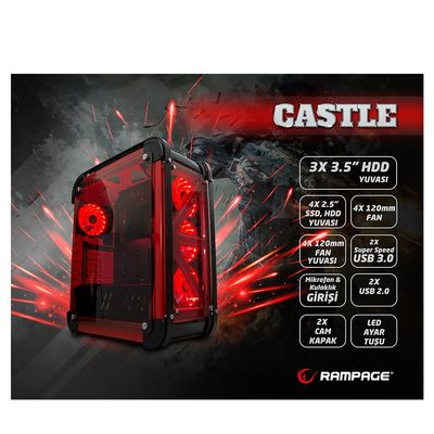 RAMPAGE mid Tower Powersiz Gaming CASTLE ATX PC Kasası Temperli Cam Siyah