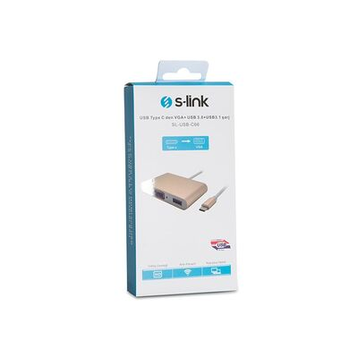 S-LINK 0.15metre SL-USB-C66 TYPE-C USB 3.0-VGA Çevirici Adaptör Gold 4K