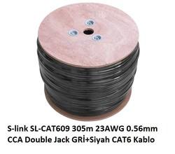 S-LINK - S-Link SL-CAT609 305m 23AWG 0.56mm Gri+Siyah Kablo