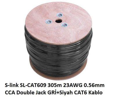 S-Link SL-CAT609 305m 23AWG 0.56mm Gri+Siyah Kablo