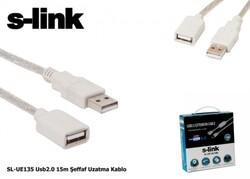 S-LINK - S-link SL-UE135 Usb2.0 15m Şeffaf Uzatma Kablo