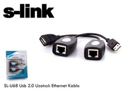 S-LINK - S-LINK USB 0.10metre SL-U68 1port USB 2.0 RJ45 (CAT5,CAT6) USB Repaater 45metre mesafeye kadar