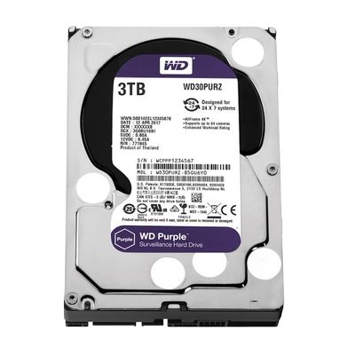 WD 3TB 3.5'' 64MB Sata 6Gb/s 7/24 Purple WD30PURZ