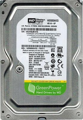 Wd 500 Gb Sata-2 7200Rpm 16Mb Wd5000Avcs Harddisk